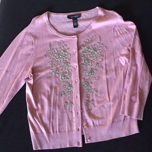 Cable and gauge beaded pink Cardigan